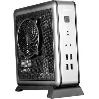 Antec ISK100 w  /  80 Watt Power Supply Mini-ITX Tower Computer Case - Black  /  Silver