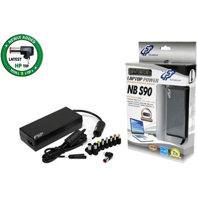 FSP NBS90 (CEC) 90 Watt Universal Notebook Adapter w  /  9 Interchangeable Connector Tips & Switchable Voltage - Retail