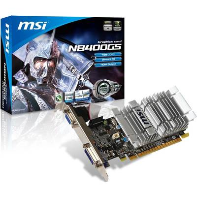 MSI GeForce GS 8400 N8400GS-MD1GD3H 1GB DDR3 PCI Express 2.0 x16 Video Card - Low Profile
