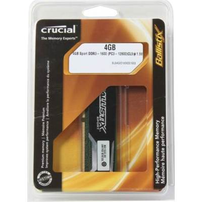 Crucial Ballistix sport 4GB DDR3 1600 (PC3 12800) Desktop Memory Model BLS4G3D1609DS1S00