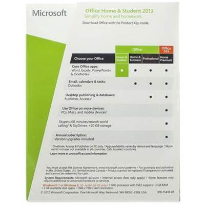 microsoft office home and student 2013 product key card - 1 pc