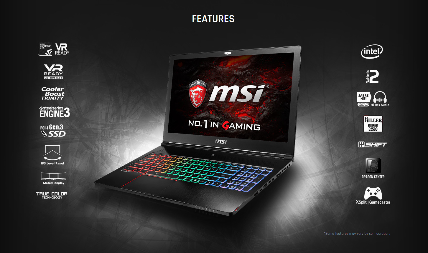 Détails : MSI GS63VR STEALTH 15 6-Inch Full HD Core i7-7700HQ GTX 1060  (6GB) Gaming Laptop