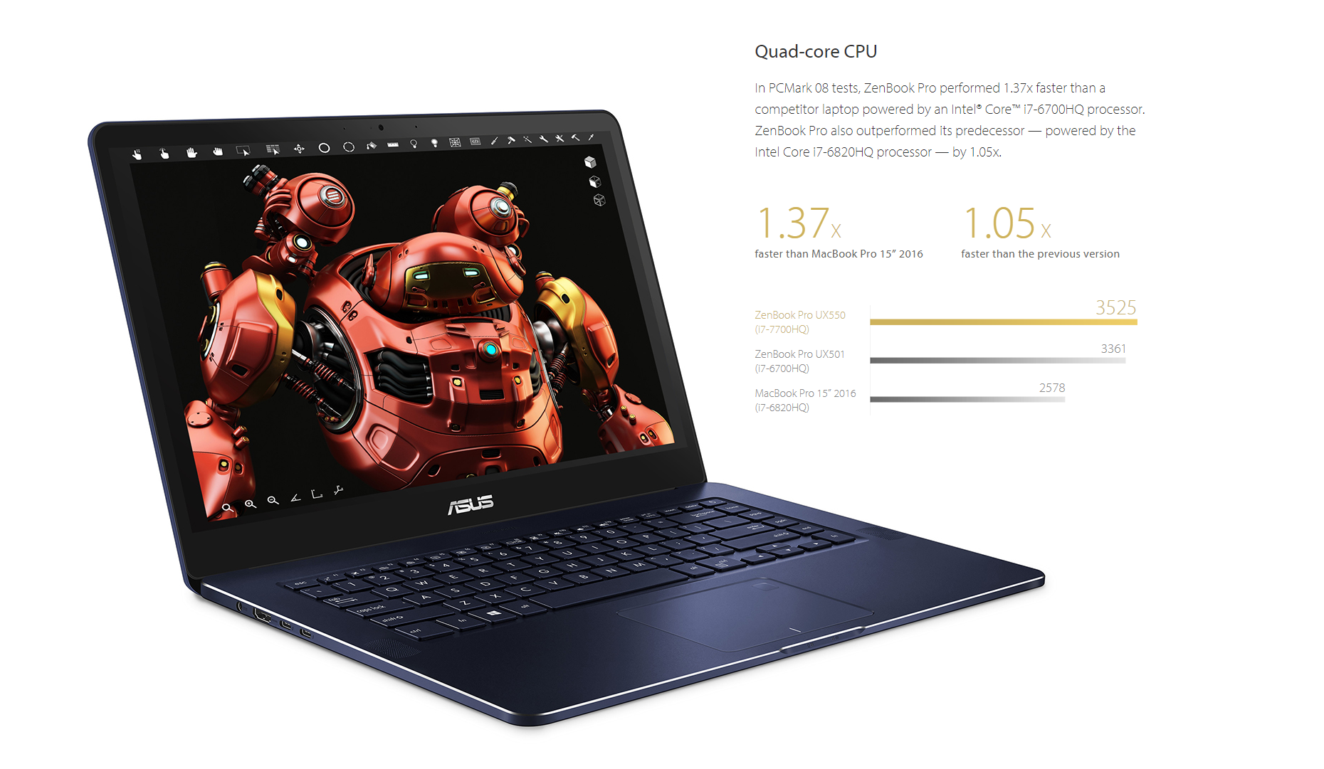 Asus Zenbook Pro Ux550ve Db71t 156 Full Hd Touchscreen Laptop W Frame Keybord X 455 Casing Also Outperformed Its Predecessor Powered By The Intel Core I7 6820hq Processor 105x